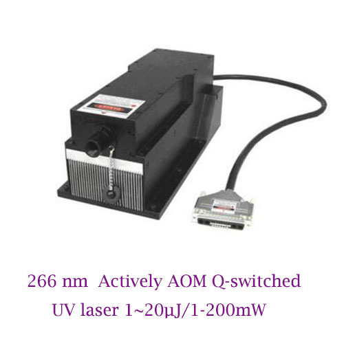 Single pulse energy up to 20uJ 266nm Actively AOM Q-switched UV laser 1-200mW