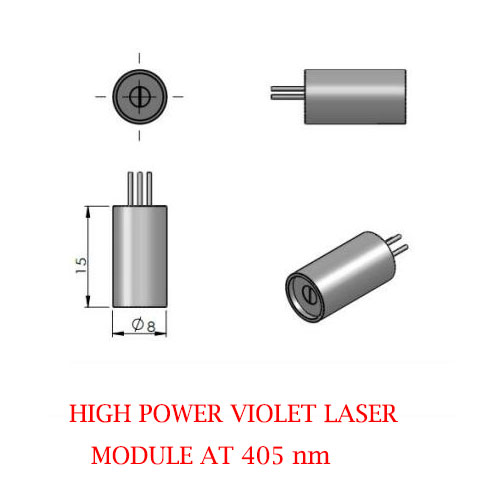 Small Size High Output Power 405nm Violet Blue Laser 1~300mW