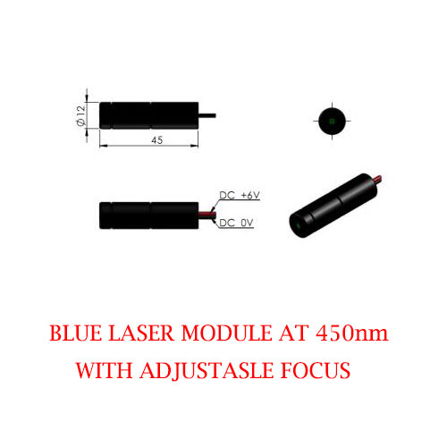 Adjustable Focus And Divergence 450nm Blue Laser 1~30mW
