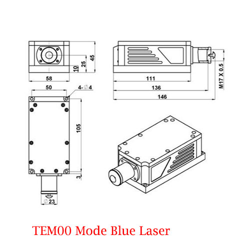 Low Cost 450nm TEM00 Mode Blue Laser 1~20mW